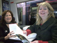Karen Cunningham and Wilma Moore of Culture & Sport Glasgow en route to Edinburgh on launch day.