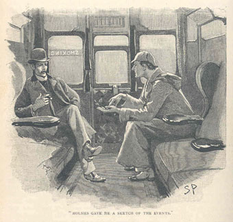 Illustration of Sherlock Holmes and Dr Watson from 'The Silver Blaze' (City of Westminster Libraries).