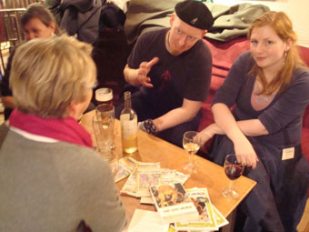 A discussion about the books over drinks in Edinburgh.