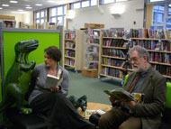Anne and Michael reading at Downend Library, South Gloucestershire.