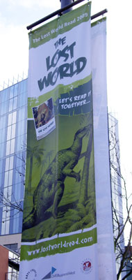 A Lost World Read 2009 banner in Bristol city centre.