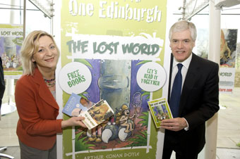 Culture Minister Linda Fabiani and Chair of Edinburgh UNESCO City of Literature Trust Sir Sandie Crombie at the press launch at Our Dynamic Earth.