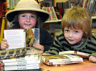 Barry the blue-tongued skink made a visit to St Austell Library where they were reading The Lost World.