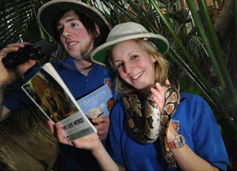 Barry and Owen with a python at Newquay Zoo, one of the many locations where Lost World Read 2009 events are taking place.